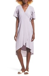 Astr Women's Crochet Sleeve Wrap Dress Dusty Lavender