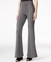 Material Girl Juniors' Printed Pull On Flare Leg Pants Only At Macy's Caviar Black