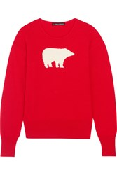 Perfect Moment Intarsia Merino Wool Sweater Red