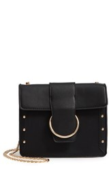 Leith Metal Ring Faux Leather Crossbody Bag Black