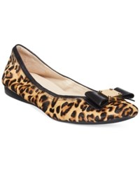 Cole Haan Tali Bow Ballet Flats Women's Shoes Leopard Haircalf
