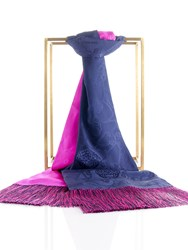 Shanghai Tang Lucky Charms Silk Shawl With Tassel Navy