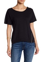 Poof Zipper Hem Tee Black