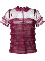Red Valentino Dotted Sheer Ruffle Blouse Red
