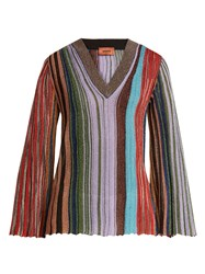 Missoni Vertical Stripe V Neck Long Sleeve Top Multi