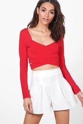 Boohoo Long Sleeve Cut Out Bralet Red