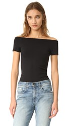 Helmut Lang Boat Neck Off Shoulder Tee Black