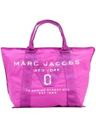 Marc Jacobs Large Logo Print Tote Women Nylon One Size Pink Purple
