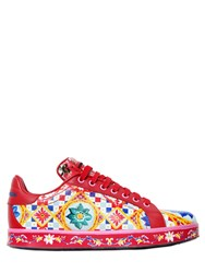 Dolce And Gabbana 20Mm Portofino Maiolica Leather Sneakers