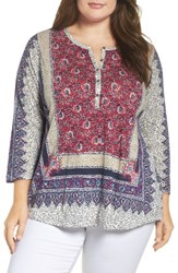 Lucky Brand Plus Size Women's Scarf Print Blouse Pink Multi