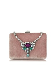 Rodo Antique Pink Velvet Collier Clutch W Crystals
