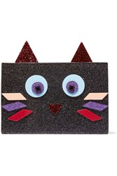Karl Lagerfeld Choupette Glittered Acrylic Clutch Black