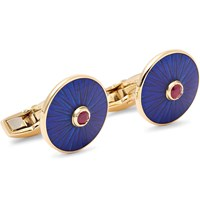 Deakin And Francis 18 Karat Gold Ruby Enamel Cufflinks Blue