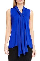 Vince Camuto Women's Tie V Neck Sleeveless Top Optic Blue