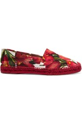 Dolce And Gabbana Floral Brocade Espadrilles Red