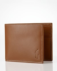 Ralph Lauren Polo Burnished Leather Passcase Wallet Brown