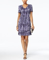 Connected Petite Tiered Crinkle Dress Purple