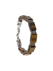Emanuele Bicocchi Square Bead Chain Bracelet Brown
