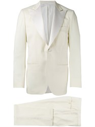 Kiton Single Breasted Suit White
