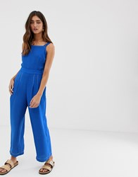 Moon River Overall Jumpsuit With Wrap Front And Tie Back Blue