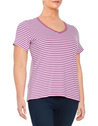 Lord And Taylor Plus Striped Stretch Cotton Tee Purple Orchid