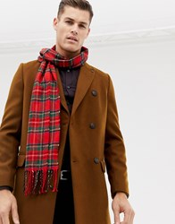 Burton Menswear Tartan Scarf In Red Check