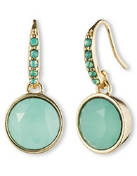 Lonna And Lilly Goldtone And Jade Crystal Drop Earrings Green