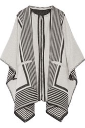 Mih Jeans M.I.H Oversized Reversible Wool Blend Poncho Cream