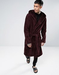 Asos Hooded Fleece Dressing Gown In Burgundy Oxblood Red