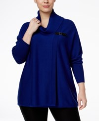 Jm Collection Plus Size Cowl Neck Poncho Only At Macy's Bright Sapphire