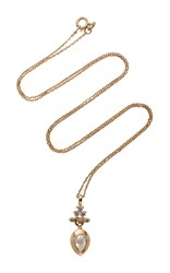 Anna Sheffield Bloom Pear Drop Necklace Gold