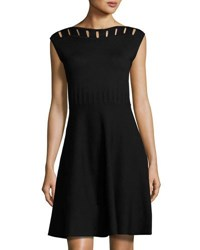 Catherine Malandrino Cap Sleeve Cutout Yoke Flare Dress Black