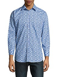 Tailorbyrd Printed Casual Cotton Shirt French Blue