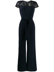 Lauren Ralph Lauren Lace Panel Jumpsuit Blue