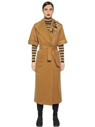 I'm Isola Marras Camel Coat W Embroidered Patches