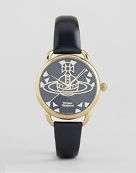 Vivienne Westwood Leadenhall Black Leather Watch Vv163bkbk Black Gold