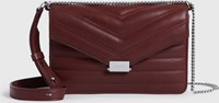 Allsaints Justine Small Leather Flap Crossbody Bag Brick Red