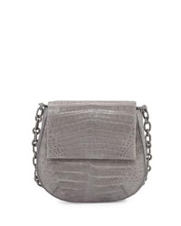 Nancy Gonzalez Crocodile Shoulder Saddle Bag Gray