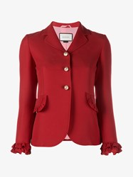 Gucci Wool Silk Blend Single Breasted Ruffle Jacket Red Pearl