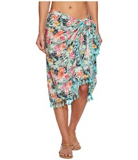San Diego Hat Company Bss1814 Woven Tropical Print Sarong Cover Up Multi Scarves