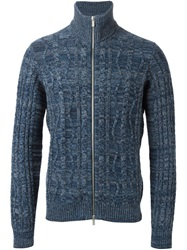 Armani Jeans Cable Knit Marled Cardigan Blue