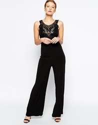 Lipsy Jumpsuit With Cornelli Trim Black