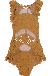 Zimmermann Plume Ruffled Broderie Anglaise And Point D'esprit Swimsuit Mustard