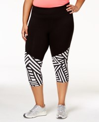 Material Girl Active Plus Size Spliced Cropped Leggings Only At Macy's Classic Black
