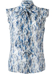 Kiton Printed Sleeveless Shirt Blue