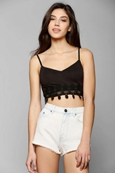 Pins And Needles Pins And Needles Delicate Crochet Trim Bra Top Black