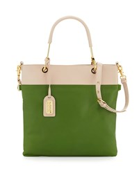 Badgley Mischka Glenda Napa Bicolor Tote Bag Latte Avocado