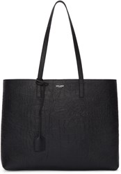Saint Laurent Black Croc Embossed Large Shopping Tote Bag
