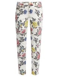 House Of Holland Floral Print High Rise Skinny Jeans White Multi