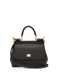 Dolce And Gabbana Sicily Small Dauphine Leather Bag Black